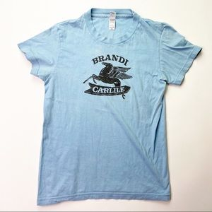 Brandi Carlisle Band Graphic Tee Shirt Blue Top M